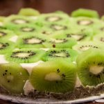 A close-up of the kiwi coconut cake