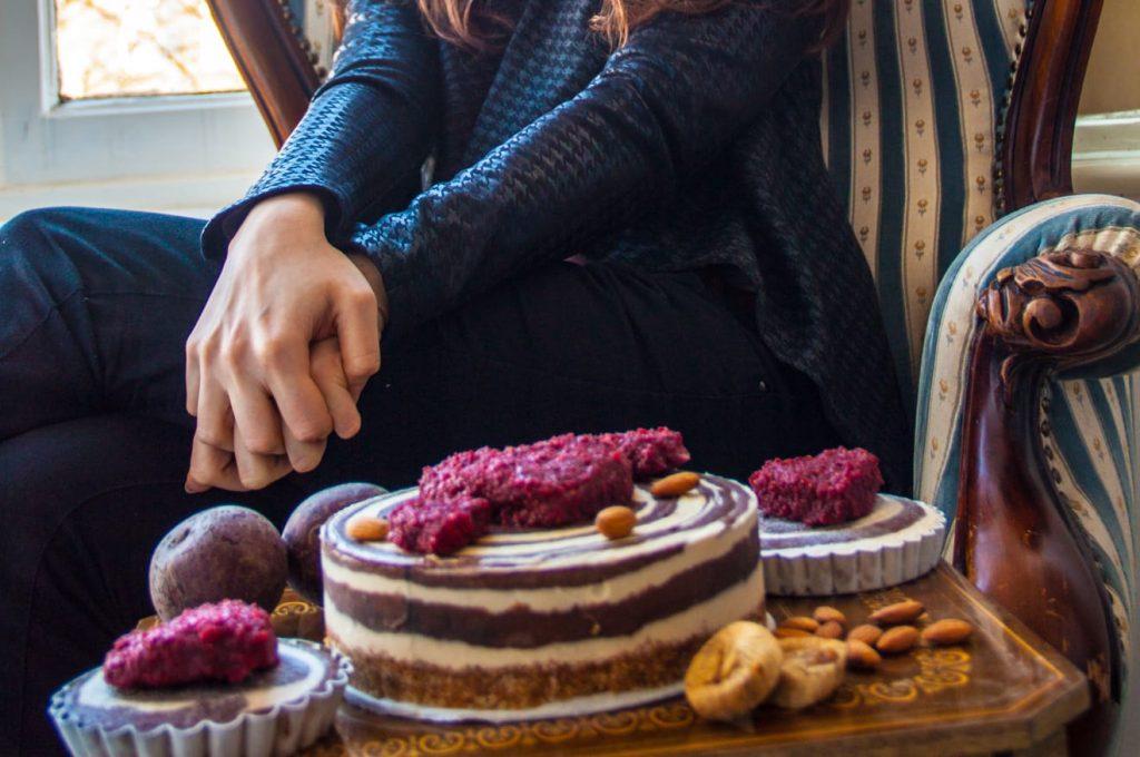 Sugar free zebra cake with Kasia in the background