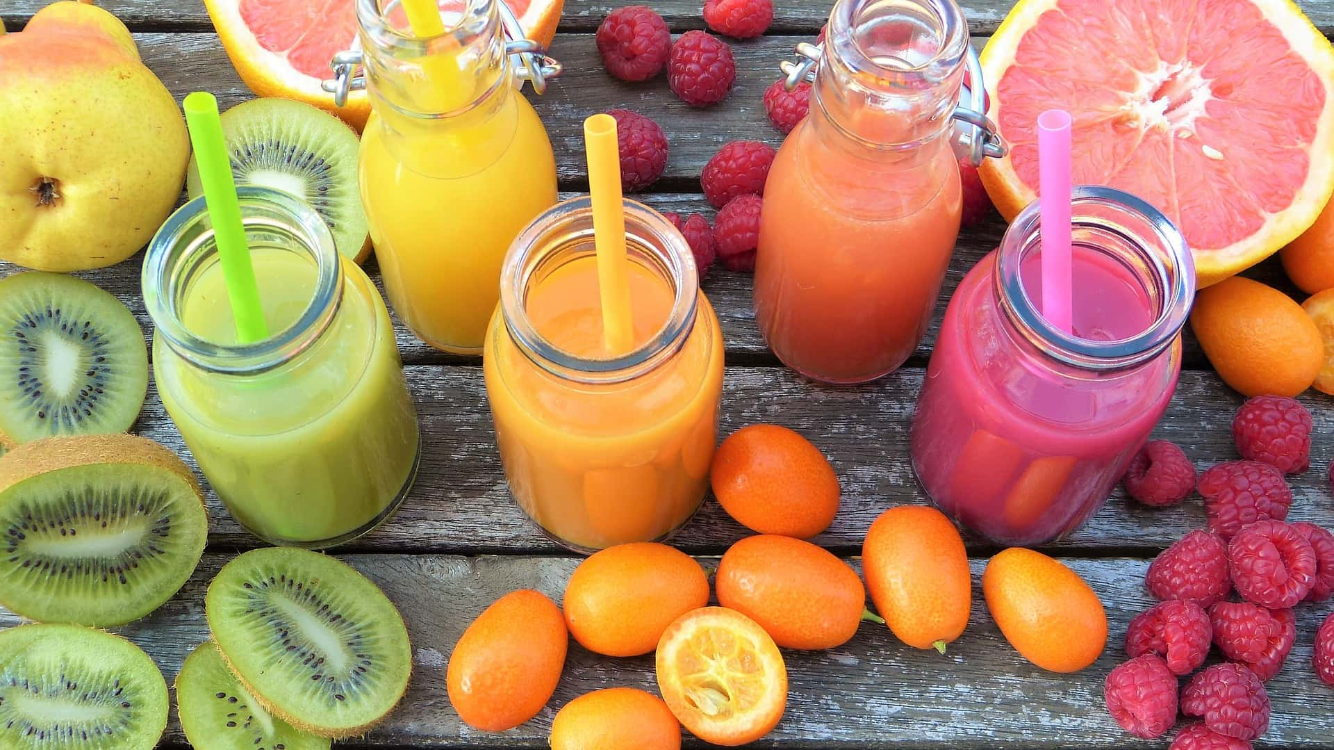 Fruits with smoothies