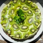 Raw avocado lemon cake with kiwi